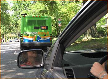 Car following bus